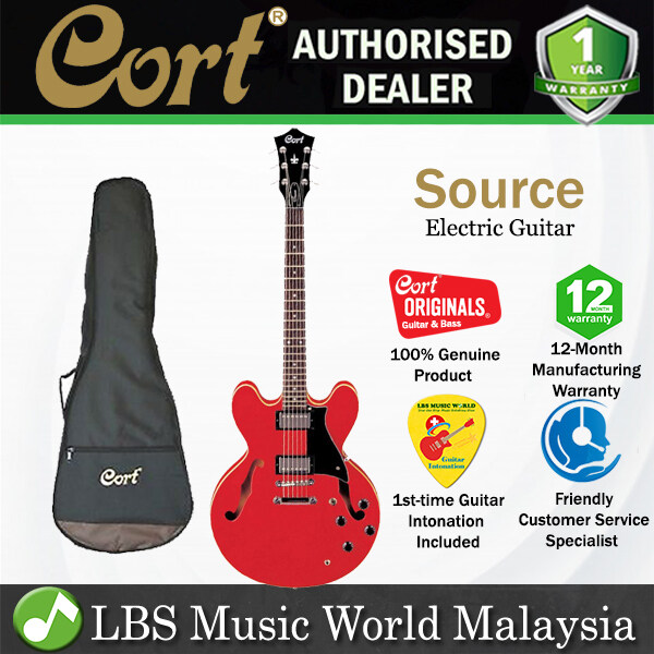 Cort Source Set In Semi Hollow Single Cutaway Maple Top Cherry Red Electric Guitar with Bag Malaysia