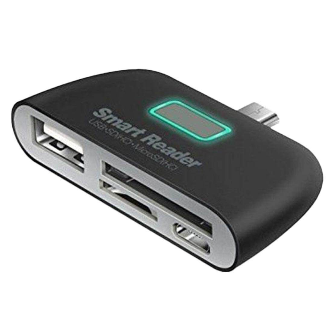 Smart Card Reader Adapter Mini 4 In 1 Otg/Tf With Micro Usb Charge Port For Andriod Phone Tablet