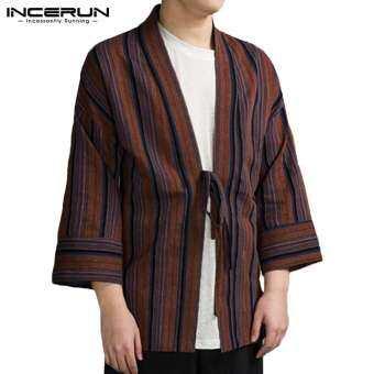 INCERUN ชาย VINTAGE เสื้อคาร์ดิแกนลายทางชุดกิโมโนสไตล์ญี่ปุ่นเสื้อโค้ตทรงหลวมเสื้อ Tops-