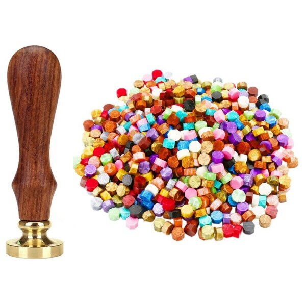 Vintage Handle Stamp Wooden Wax Seal 4 with 600Pcs (24 Colors)Sealing Wax Beads Packed in Plastic Box