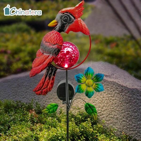 [Chinatera] Đèn LED Năng Lượng Mặt Trời Hình Chim Đỏ Con Công, Đèn Bãi Cỏ Phát Sáng Đèn Cảnh Quan Sân Vườn Ngoài Trời Không Thấm Nước