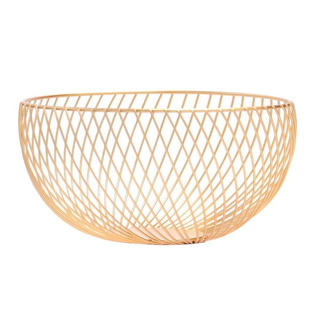 Perfk Creative Hollow Golden Wrought Iron Fruit Plate Storage Basket