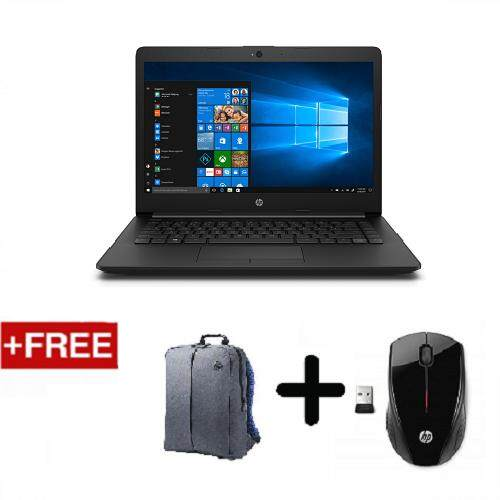 HP 14-cm0087AU 14 Laptop Black (AMD A6-9225, 4GB RAM, 500GB HDD, Radeon R4 Graphics, Win10) + Free HP Backpack & HP x3000 Wireless Mouse Malaysia