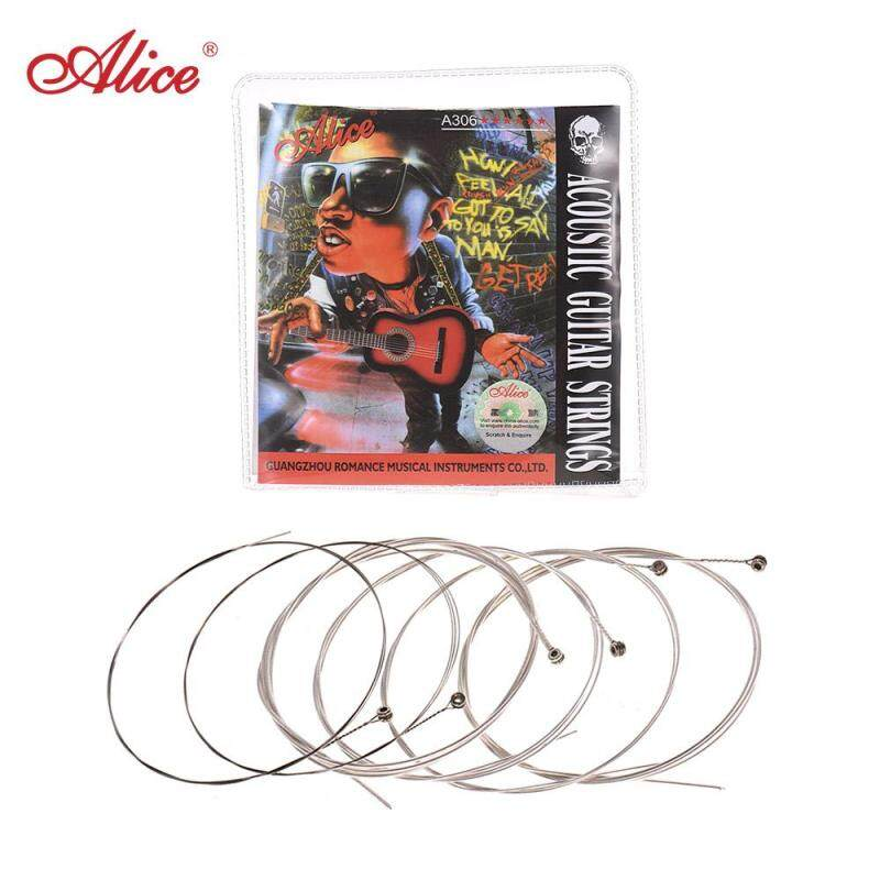 Alice A306 Series Acoustic Folk Guitar Strings Set Stainless Steel Wire Steel Core Silver-plated Copper Alloy Wound, 6pcs/ Set, Super Light(.011-.052) Malaysia