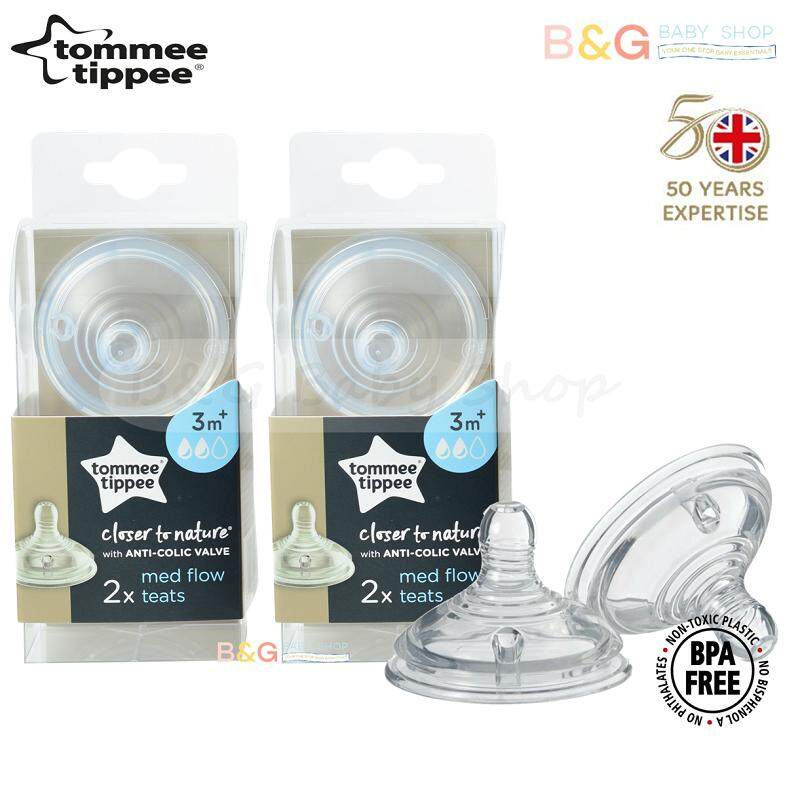 2 Pack Tommee Tippee Closer to Nature Medium Flow Teats 2 Nipples
