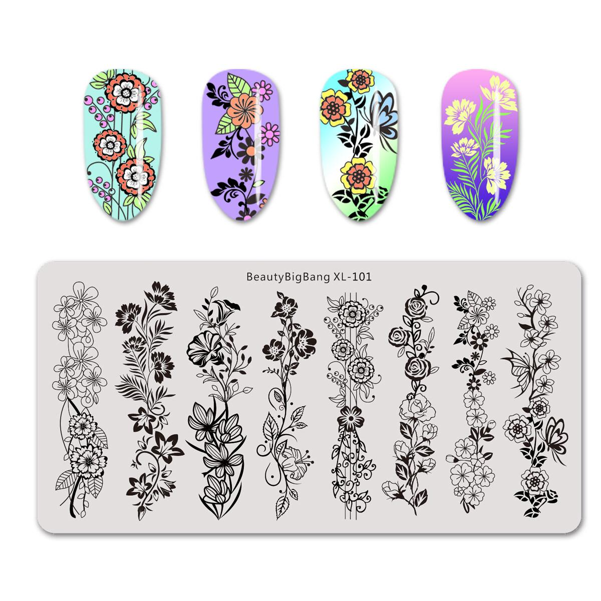 BeautyBigbang 6*12cm 1Pc Rectangle Nail Stamping Plates Flower Vine Patterns Nail Art Stamp XL-101