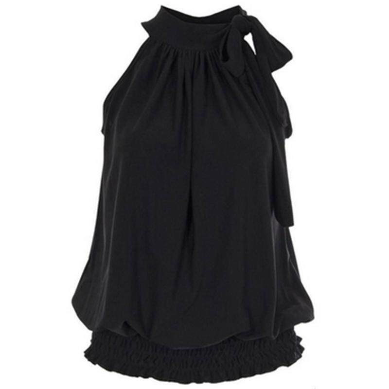 Product details of Women Ladies Pleated Coloured Halter Neck Ruched Sexy Top Blouse Hot Party Plus Size Sleeveless Baggy Pleated Plus Size Sleeveless Tops
