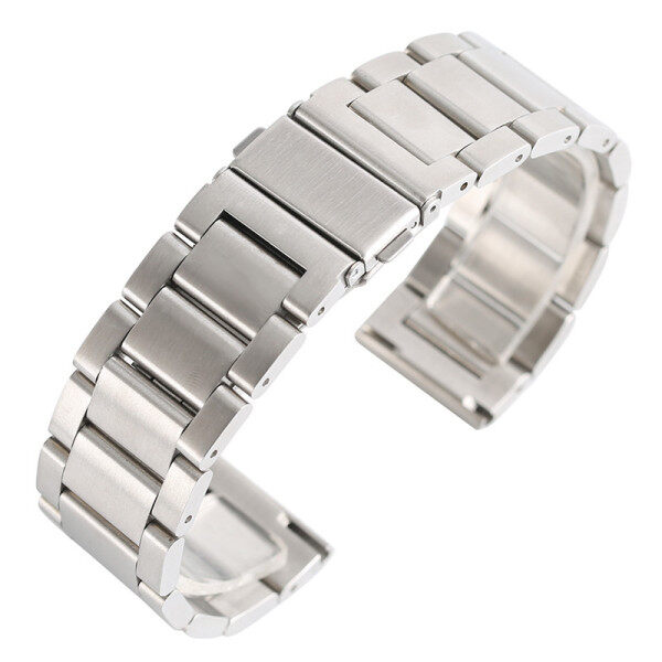 AIKEN 18mm/20mm/22mm Silver/Black Solid Stainless Steel Strap Fold Over Clasp With Safety Bracelet Watch Band Malaysia