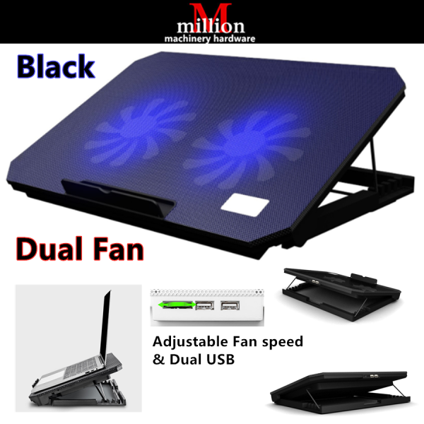 millionhardware - Nuoxi Laptop Cooler Cooling Pad Silent Notebook Radiator Base Two Cooling Fan Speed Notebook Stand for 10-17 Inch Malaysia