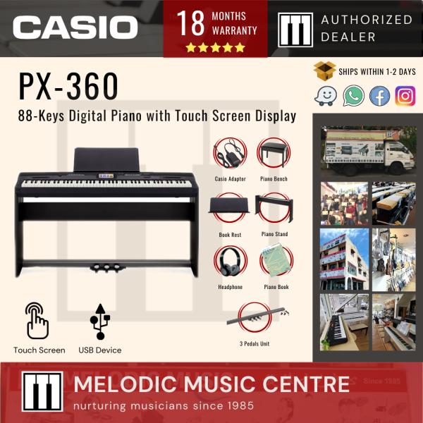Casio Privia PX-360 88-Keys Digital Piano BASIC with Piano Stand, Bench, Headphones, Book, and Three Pedals (PX360) Malaysia