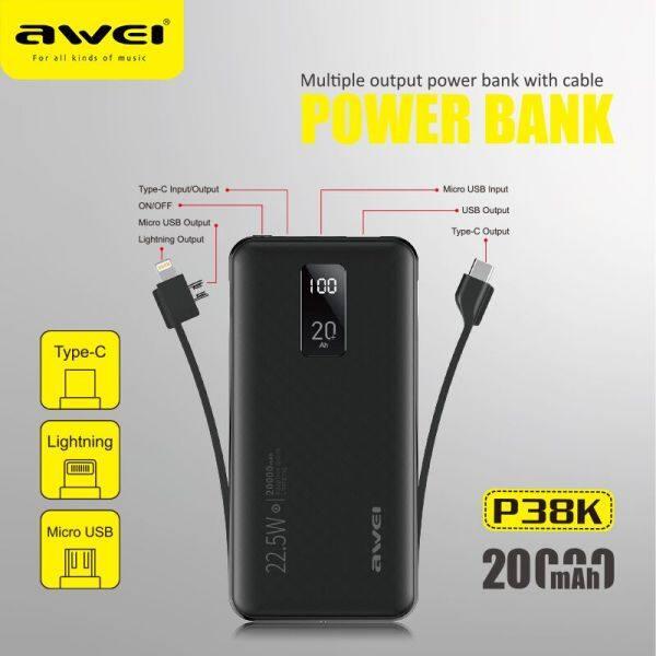 Ổ cắm điện sạc nhanh AWEI P38K 22.5W 20000mah 3 trong 1 Đầu nối cáp USB Type-C đầu ra e-banking cho iPhone