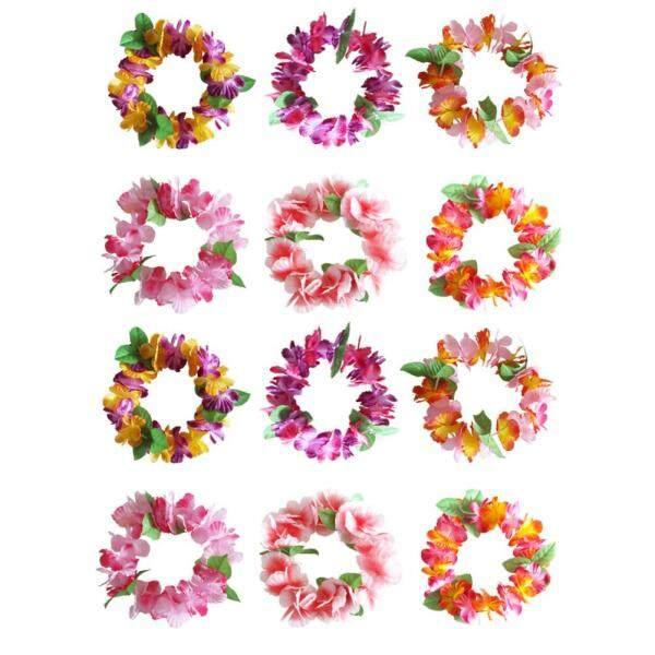 24 CHIẾC Hoa Nhiều Màu Sắc Trang Trí Tiệc Thun Hawaii Màu Ngẫu Nhiên Nhiệt Đới Đầu