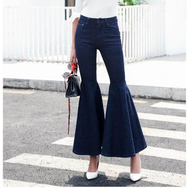 fc7c74bed Classic long Flared Jeans For Women Skinny Denim Jeans Bell Bottom Pants  Female Vintage Basic Wide