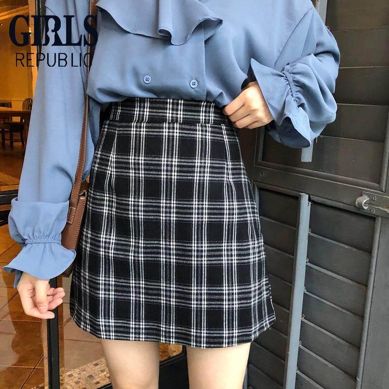 7b96c1fc22 Girls Republic lowest price Fashion versatile short A-line hip plaid skirt