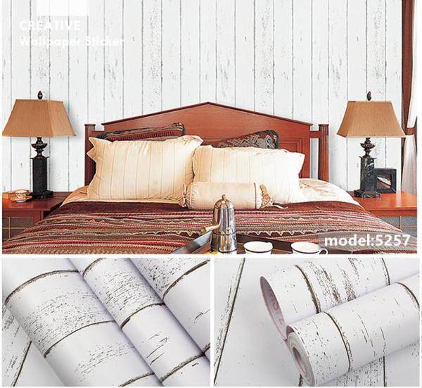 Wallpaper Self-adhesive PVC Sticker 45cm x 10meter Bedroom Living Room Dining Room Kitchen Wall Stickers Ready Stock waterproof Wood White&Blue Design