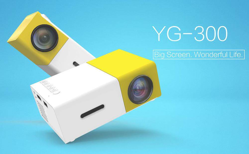 YG300 Mini LCD LED Projector 400-600LM 1080P Video Home Projector Colour:Yellow-white US plug