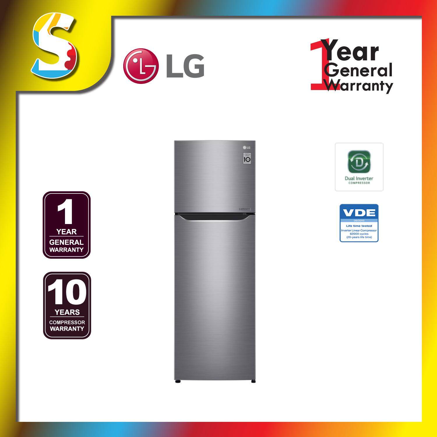 LG IEC Gross 272L Platinum Silver Top Freezer with Inverter Linear Compressor & DoorCooling+ GN-C272SLCN