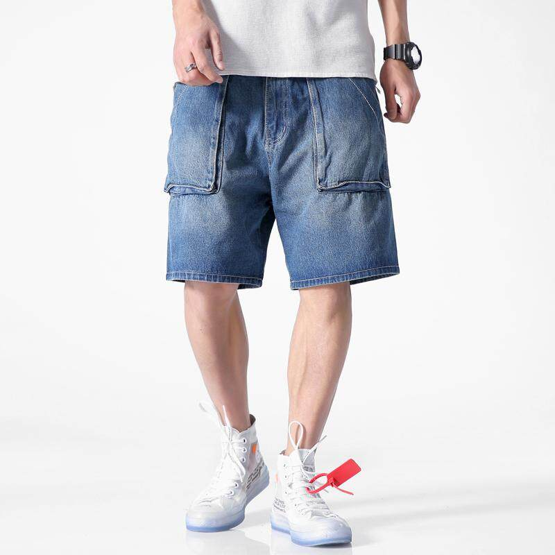 Big Pocket Jean Shorts Knee Length Mens Cotton Blue Denim Shorts New Fashion Male Straight Casual Short Jeans Size By Loldeal Official Store.