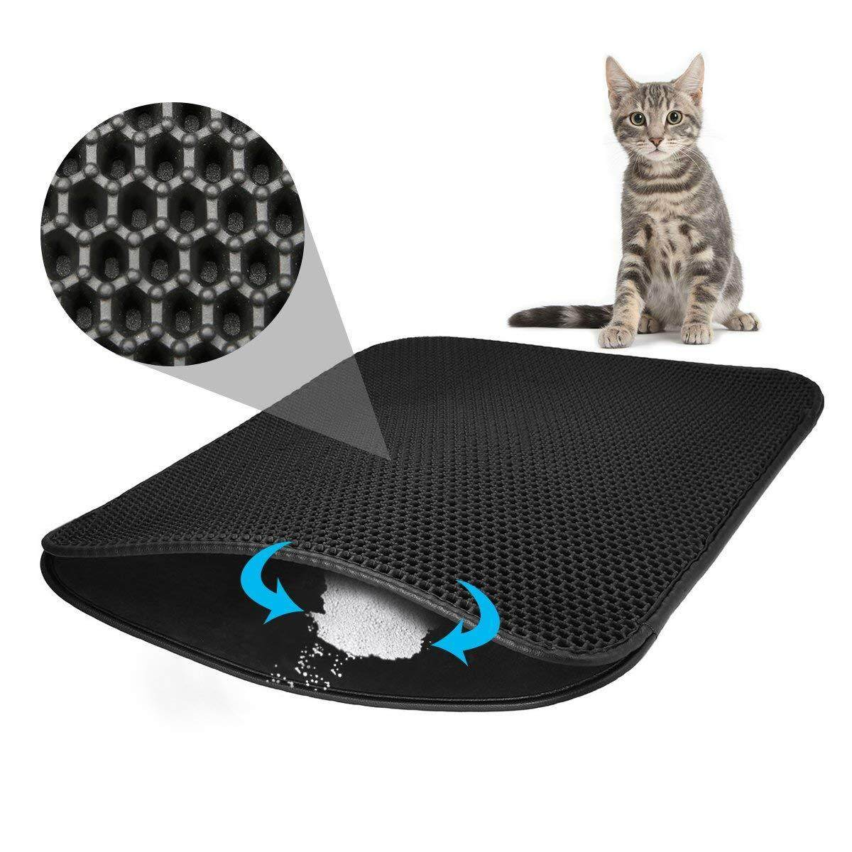 Dustbin Pad, Cat Litter Mat 75x 55cm Trash Can Pad Honeycomb Design Trash Can Carpet Waterproof Double Layer Design Honeycomb Cat Litter Mat Black By Benefitwen.