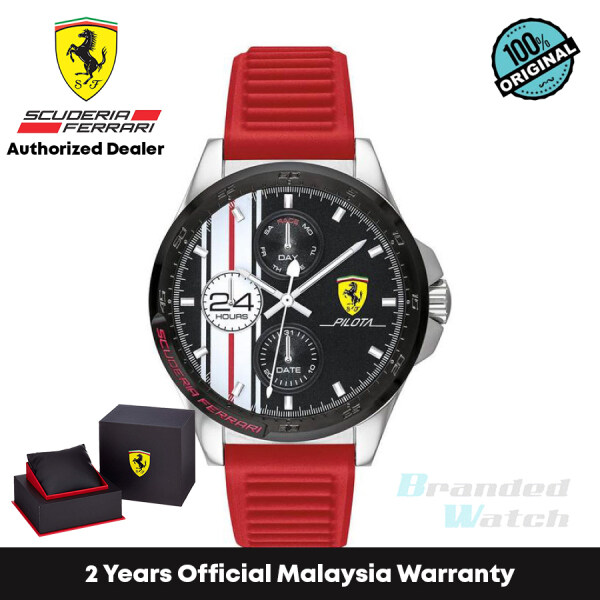 [Official Warranty] Scuderia Ferrari 830657 Mens Forza Red Silicone 45mm Strap Watch (watch for men / jam tangan lelaki / ferrari watch for men / ferrari watch / men watch) Malaysia
