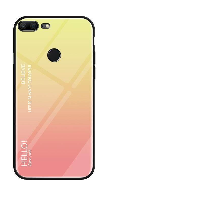 Untuk Huawei Honor 9 Lite Gradien Warna Kaca Antigores Casing Kaca Penutup Belakang Lembut TPU Bumper