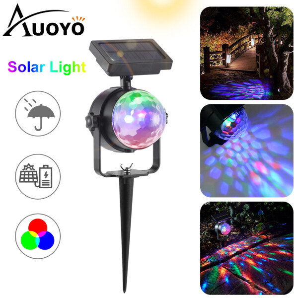 Auoyo LED Solar Light Garden Lights Outdoor Lighting Spotlights Wall Light RGB Colour Changing Projector Lights Decorative Lamps Landscape Light Disco Lamp for Outdoor Garden Pathway Party