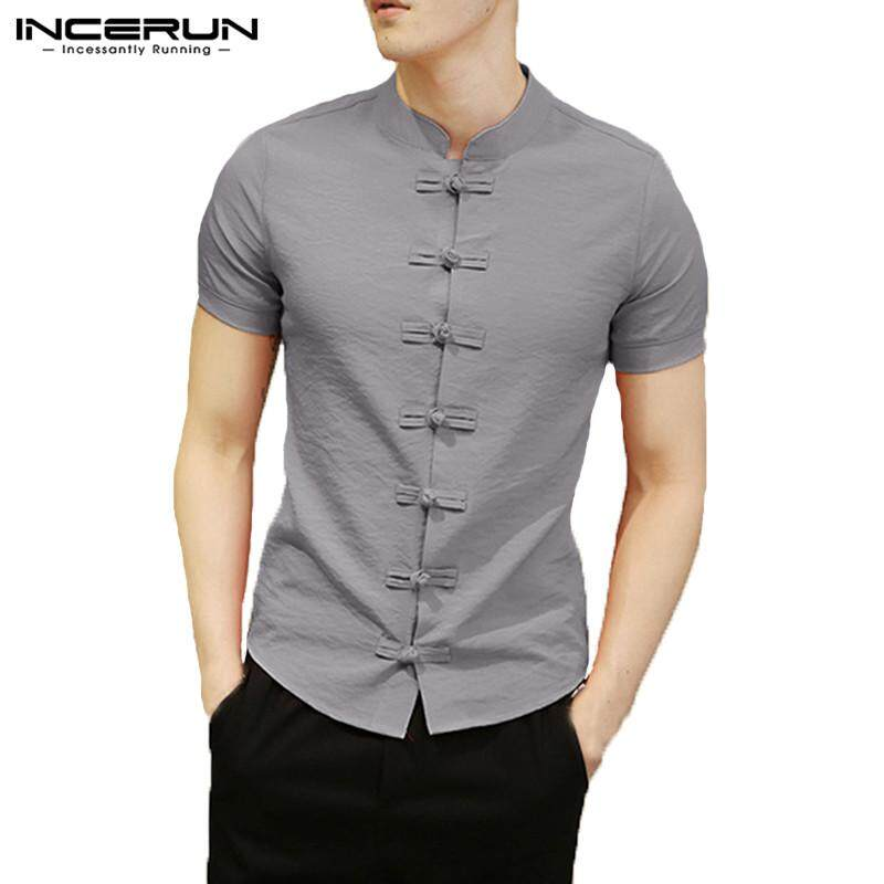 1e87b002576 INCERUN Mens Chinese Style Ethnic Stand Collar Slim Fit Short Sleeve Shirt  Tops New