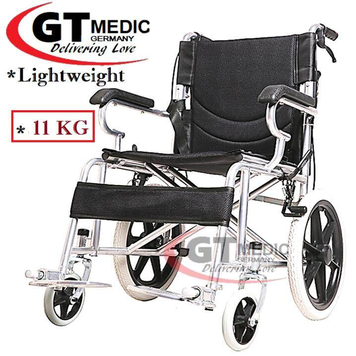 German Medicare Strong Back Ergonomic Lightweight Portable Comfort Standard  Steel Travel Transport Wheelchair + Foldable Backrest / Kerusi Roda