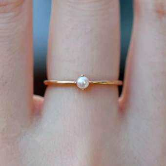 BBty ผู้หญิงขายดีแฟชั่นสีทองฝังมินิแหวนมุกเครื่องประดับ Accessoration
