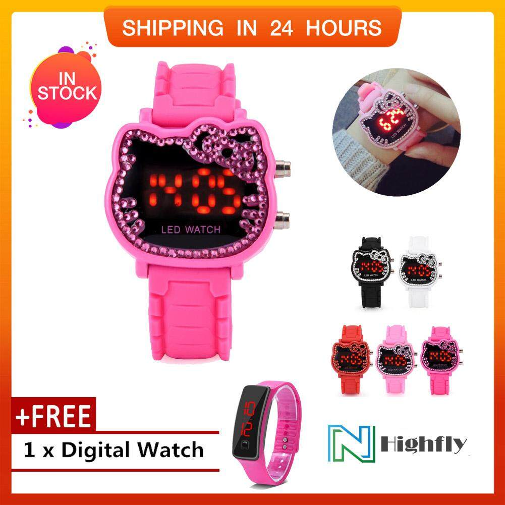 【Buy 1 Get 1 Free】5Colors Children LED Back Light Electronic Digital Cartoon Silicone Strap Watch Wristwatch Malaysia