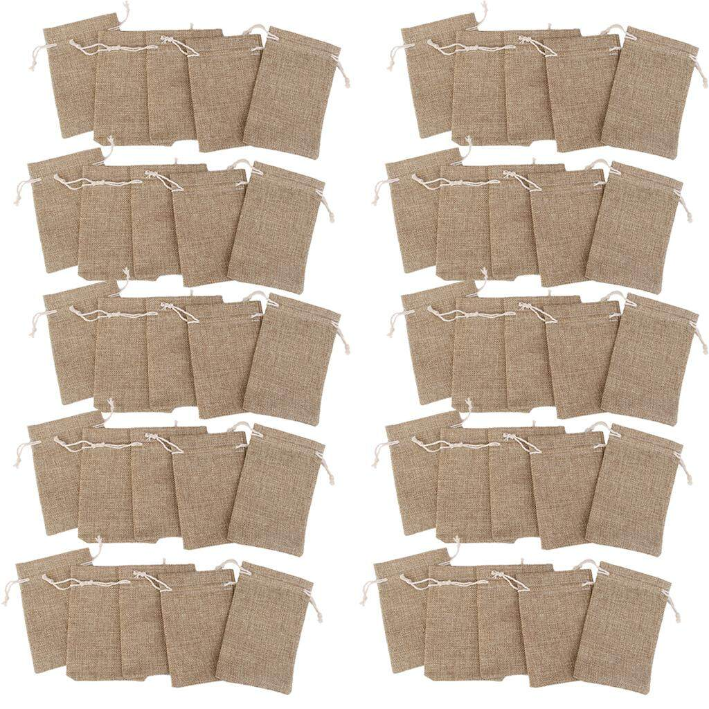 Loviver 50x Vintage Natural Linen Pouch Bags Wedding Party gift Favour Bomboniere