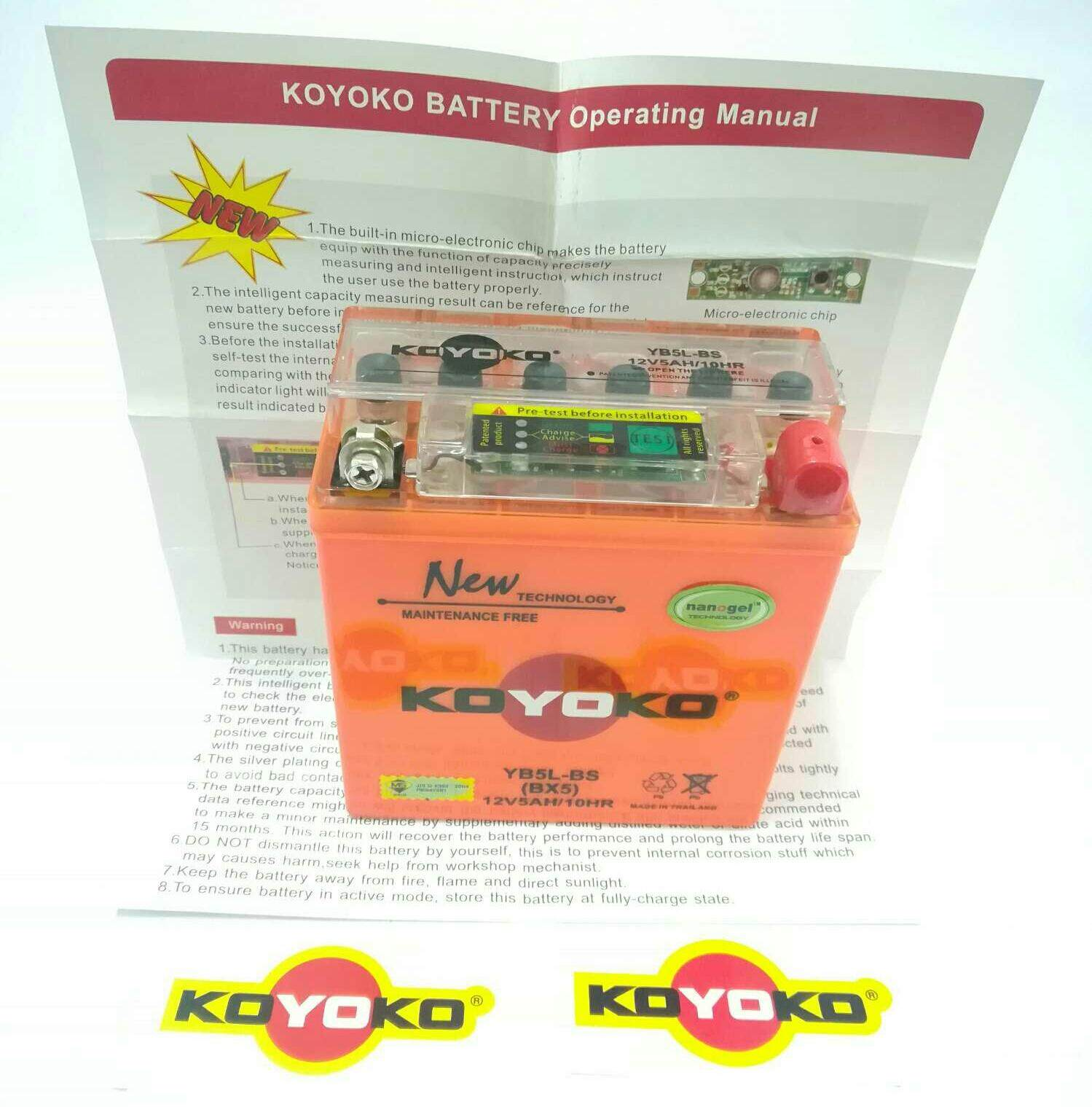 ( 100% Original / Jan 2019*new* )koyoko Nanogel Battery Yb5l-Bs (bx5) 12v5ah/10hr By B.s Motor Centre.