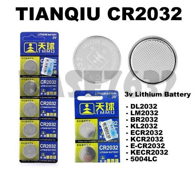 [ 1 Card = 5 Units ] TIANQIU CR2032  3V Lithium Button Cell Battery DL2032 ECR2032 LM2032  1761.1