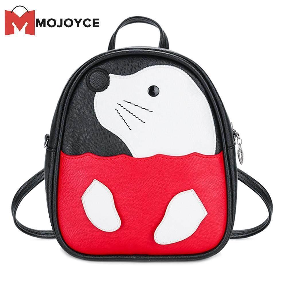 MOJOYCE Cute Seal Pattern Travel Backpacks Kids PU Leather Shoulder Crossbody Bags