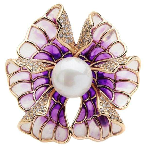 Luxury Rhinestone Simulation Pearl Purple Enamel Brooch for Wedding Banquet Jewelry Gifts