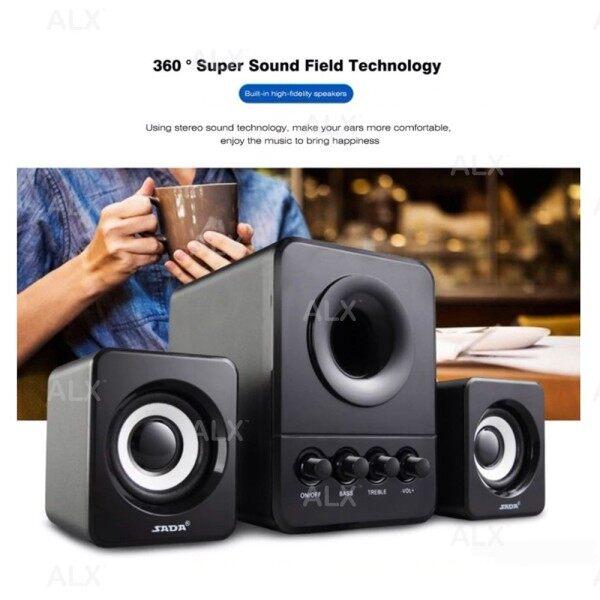 SADA Gaming Speaker Strong Bass 3D Subwoofer PC Laptop USB Wired Combination Speaker Pembesar Suara Computer Speaker Sound Malaysia