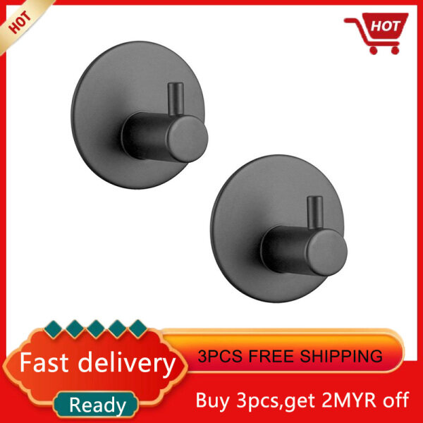 Adhesive hook, self-adhesive black wall-mounted hook key cover towel, super heavy duty stainless steel hook, no drill without screw, waterproof kitchen bathroom toilet 2 pack