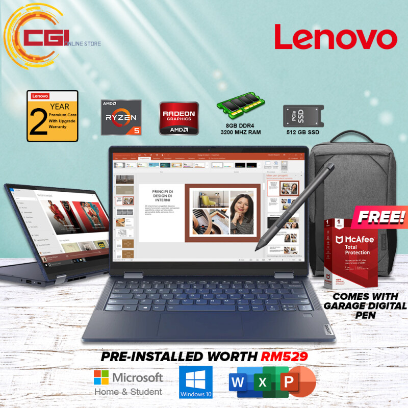 Lenovo Yoga 6 2-in-1 Laptop (82FN001VMJ) 13.3 (Abyss Blue) AMD Ryzen 5 4500U 8GB RAM 512GB SSD AMD Radeon Graphics Office Home & Student 2019 Malaysia