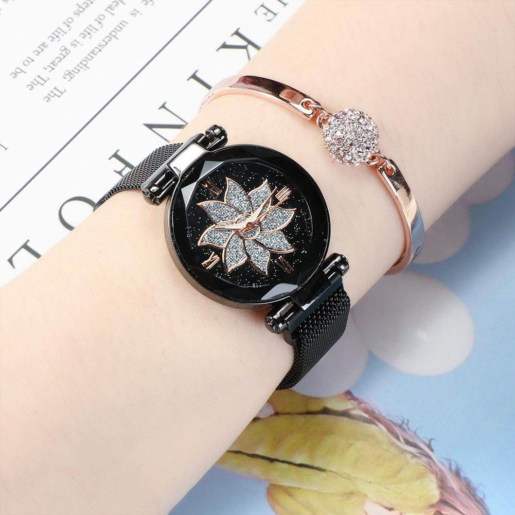 Women Fashion Starry Sky Round Dial Quartz Watch with Alloy Mesh Strap Butterfly Pattern Magnet   waterroof Watch Malaysia