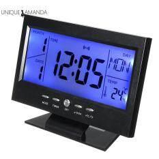 Đồng hồ báo thức điều khiển bằng giọng nói màn hình LCD 12.5x 5cm hiển thị nhiệt độ độ ẩm – INTL