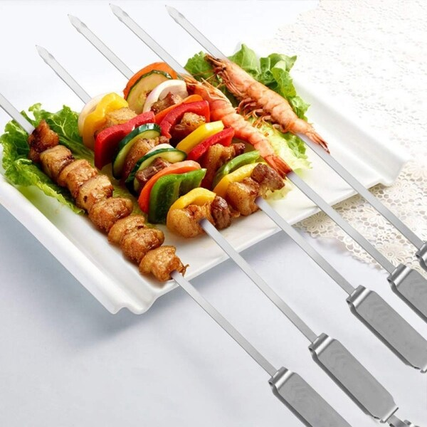 Stainless Steel Grilling Skewers with Quick Release Metal Sliding Handle Reusable BBQ Sticks for Meat and Veggies