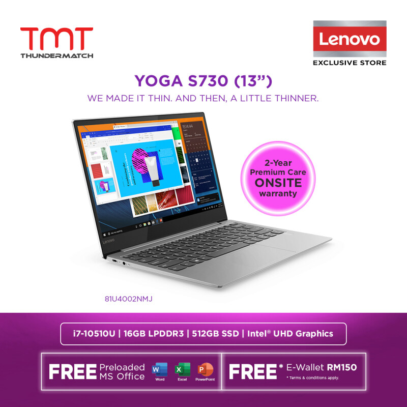 Lenovo Yoga S730-13IML 81U4002NMJ Laptop | i7-10510U | 16GB 512GB SSD | 13.3 FHD | W10 | MS OFFICE + BAG Malaysia