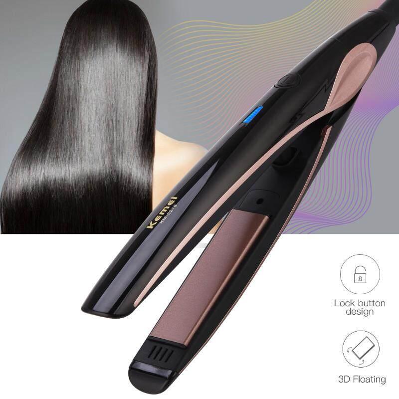 Máy Tạo Kiểu Tóc làm bằng vật liệu Gốm Tourmaline Chuyên Nghiệp Kemei, Gia Nhiệt Nhanh, có cả chức năng Duỗi Tóc với bề mặt xử lý tóc làm bằng Sắt, sử dụng nguồn điện 220V, mã số F-HS325HQ nhập khẩu