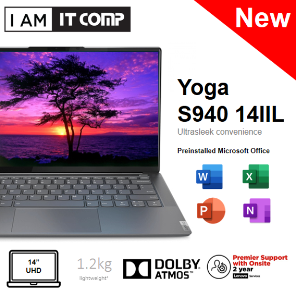 Lenovo Yoga S940-14IIL 81Q8004GMJ 14 UHD Touch Laptop Iron Grey (i7-1065G7/8GB/1TB/Intel Iris/W10) FOC WIRELESS MOUSE & F-SECURE 1 YEAR Malaysia