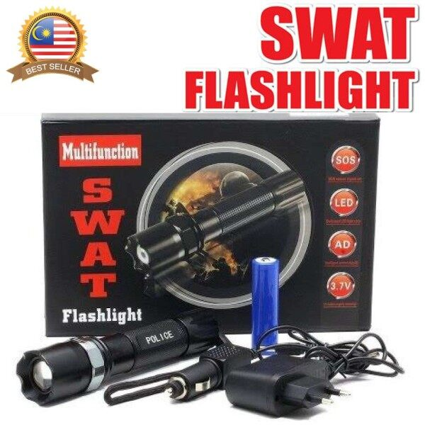 Rechargeable Multifunction SWAT Flashlight Zoom with Car Charger/Lampu Suluh SWAT