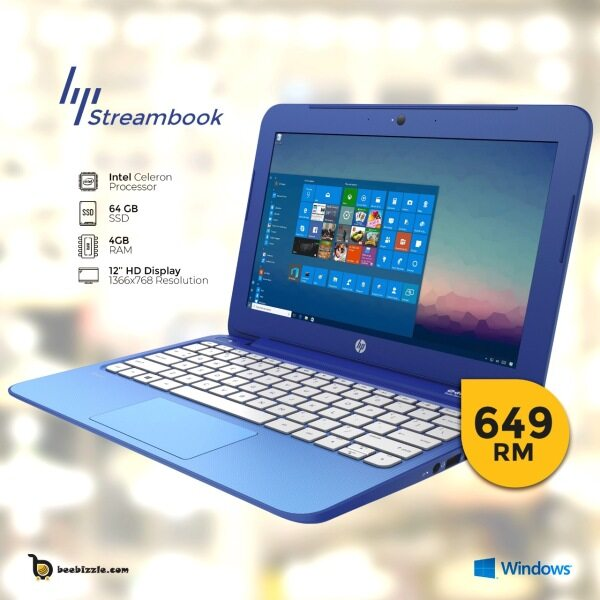 HP STREAM 11 PRO , 12 INCH,, INTEL PROCESSOR, 4GB RAM, 64 GB, WINDOWS 10, WEBCAM ETC Malaysia