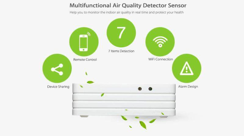 Great Promotion Smart Wireless Air Quality Detector Sensor Automation System monitor CO, PM2.5, formaldehyde, methane, light, temperature and humidity Singapore