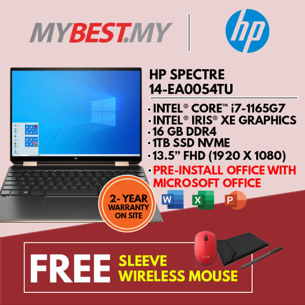 HP SPECTRE X360 14-EA0054TU LAPTOP (I7-1165G7,16GB,1TB SSD,13.5 FHD,IRIS XE GRAPHIC,WIN10 ) SLEEVE + PRE-INSTALLED OFFICE H&S 2019 Malaysia