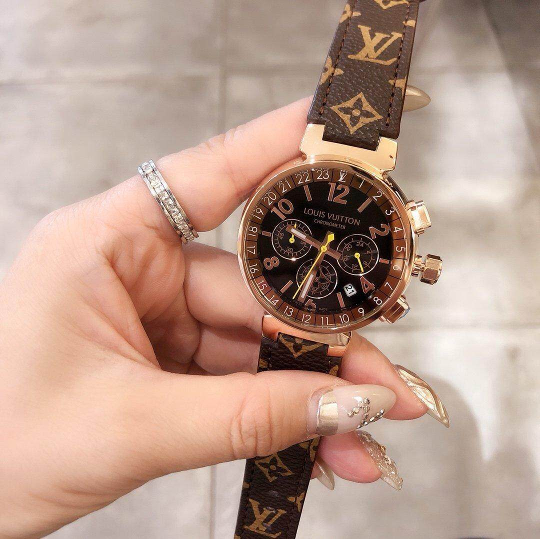Fast shipping] LV2020 new large dial Louis round watch, multifunctional Vuitton fashion belt quartz watch, simple personality female watch Malaysia