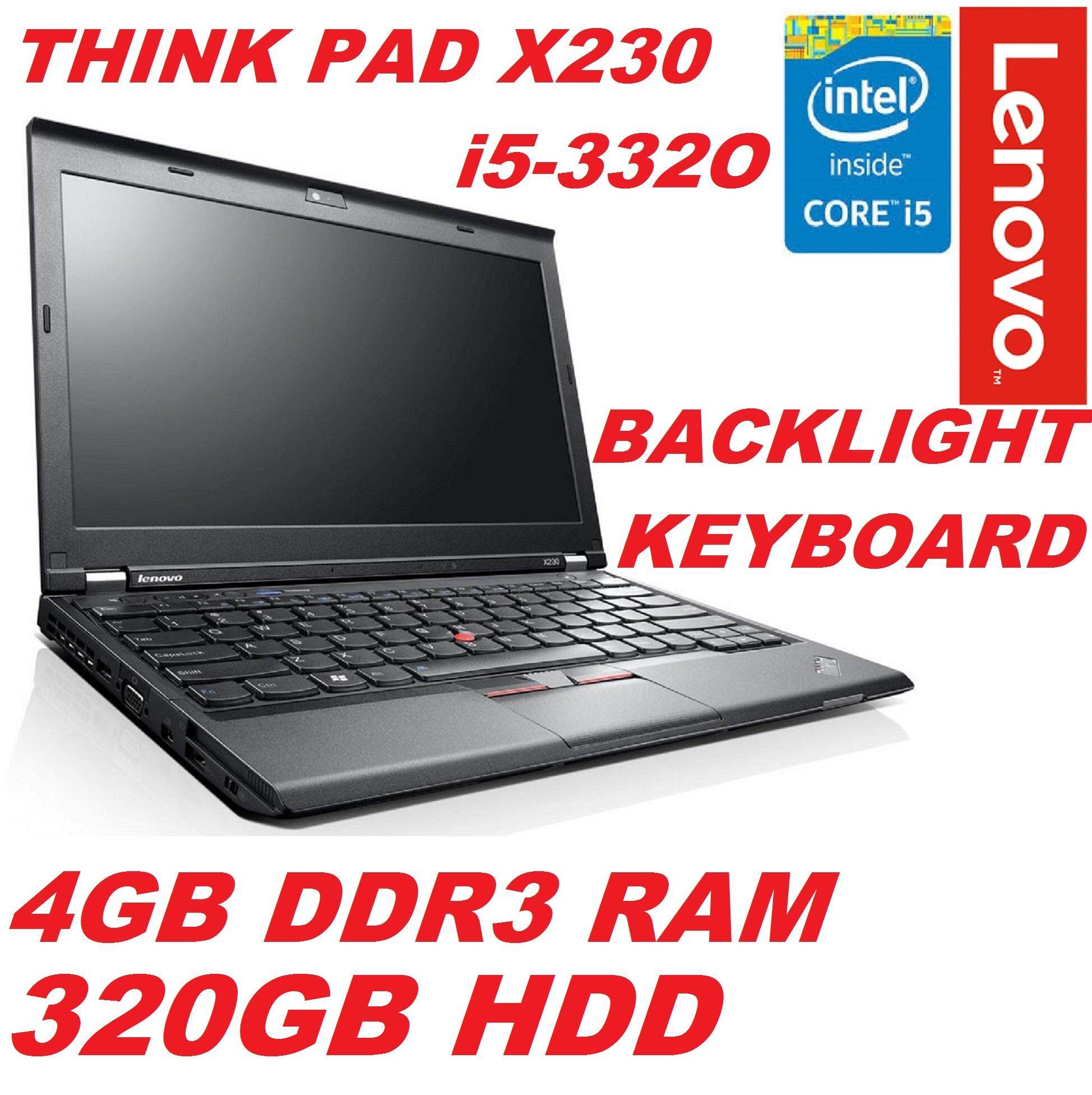 (REFURBISHED) LENOVO THINK PAID  X230 INTEL CORE i5 3RD GEN/4GB DDR3 /320GB HDD/INTEL HD GRAPHIC/12.5 DISPLAY/W8 PRO(Backlit Keyboard) Malaysia